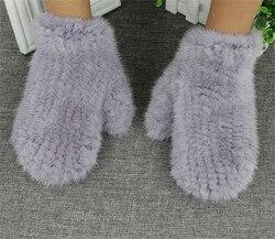Gants tricotés élastiques pour femmes | En fourrure de vison authentique, mitaines élastiques, à la mode, livraison gratuite