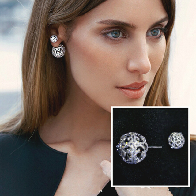 Zircon micro-set 925 silver needles shiny hollow carved large and small balls earrings