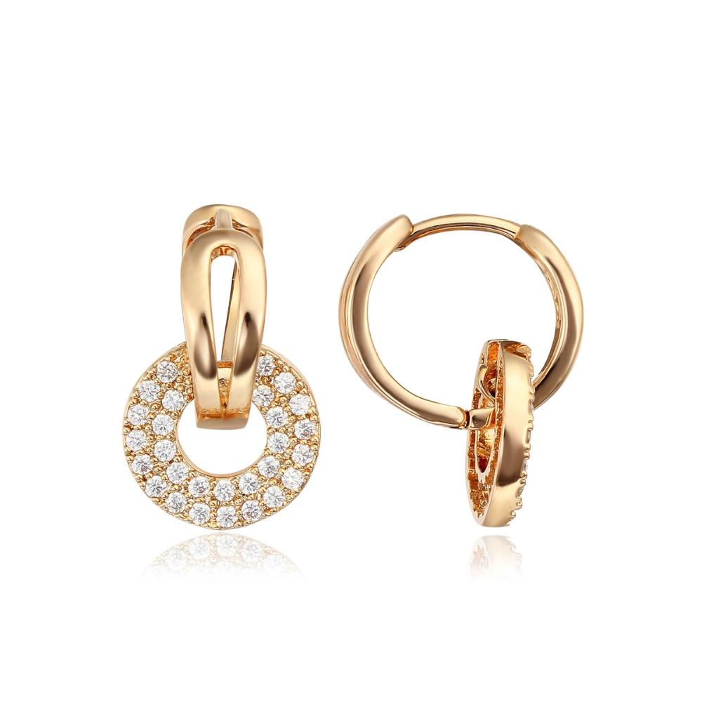 18K Yellow or Rose Gold Plated Circle Cluster Paved Zircon CZ White Stone Charm Huggies Hoop Earrings Jewelry for Women Girls