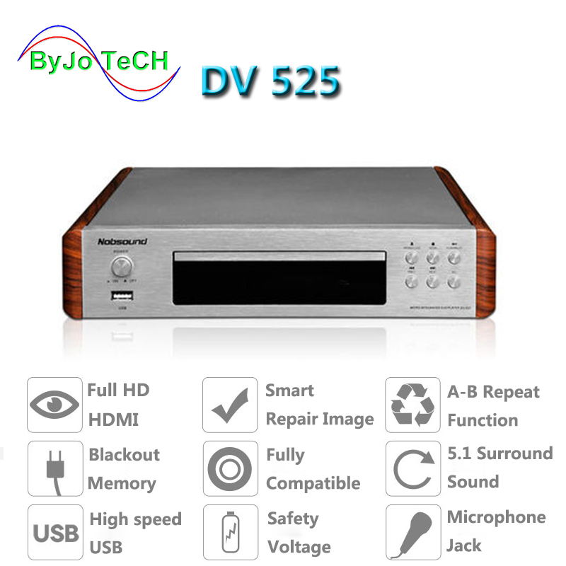 Nobsound DV525 HD DVD CD USB HDMI S-Video A-B Repeat function 5.1 surround sound KTV professional microphone interface nobsound dv 525 high quality dvd cd usb player signal output coaxial optics rca hdmi s video outlets 110 240v 50hz