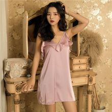 Sexy Lingerie Women Nightgowns Solid Satin Silk Women's Nightdress Sleepwear Summer Night Dress Ruffle Nightwear Homewear allover flamingo print ruffle cuff nightdress