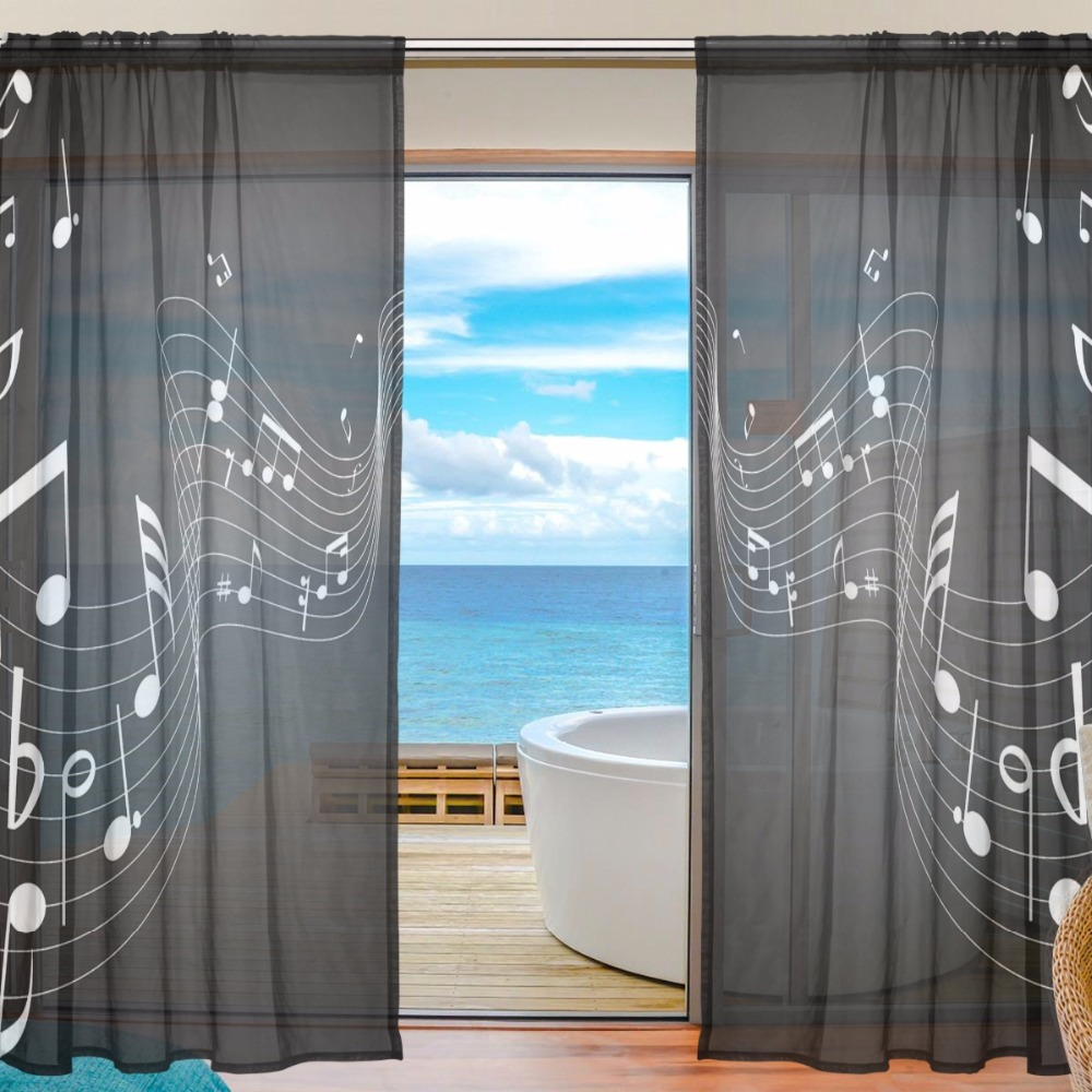 Black Curtain Music Voile Curtains Bedroom Sheer Curtains