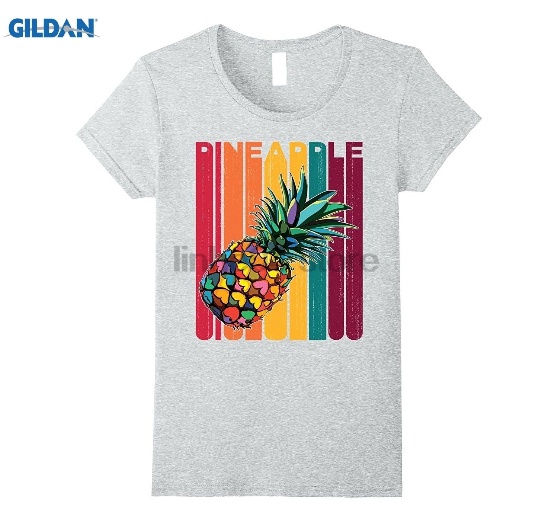 GILDAN Pineapple Aloha Beaches Rainbow Retro Vintage Hawaiian shirt Womens T-shirt