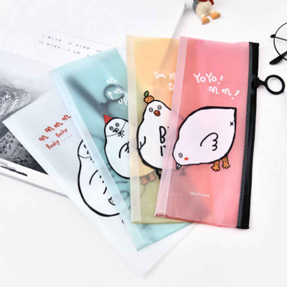 New Pencil Case Chicken PVC Material Kids School Supplies Kawaii Stationery School Cute Pencil Box Pen Bags