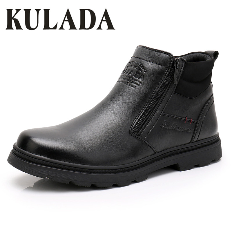 KULADA Hot Sale Boots Men Warmest Leather  Boots Handmade Outdoor Winter Working Boots Vintage Style Men Winter Waterproof Shoes