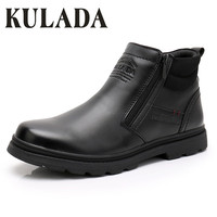 KULADA Hot Sale Boots Men Warmest Leather Boots Handmade Outdoor Winter Working Boots Vintage Style Men Winter Waterproof Shoes