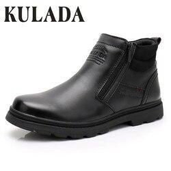 Kulada venda quente botas masculinas botas de couro mais quentes feitas à mão ao ar livre botas de trabalho de inverno estilo vintage homens sapatos de inverno à prova dwaterproof água