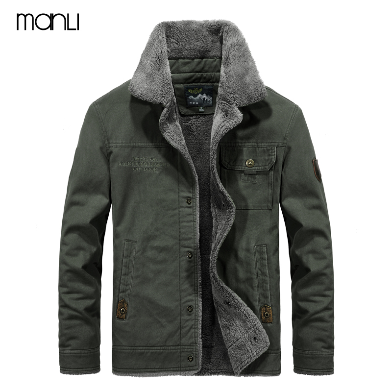 MANLI Outdoor Winter Bomber Jacket Men Air Force Pilot MA1 Jacket Warm Male fur collar Army Jacket tactical Mens Jacket Size 6XL striped trim fluffy panel bomber jacket