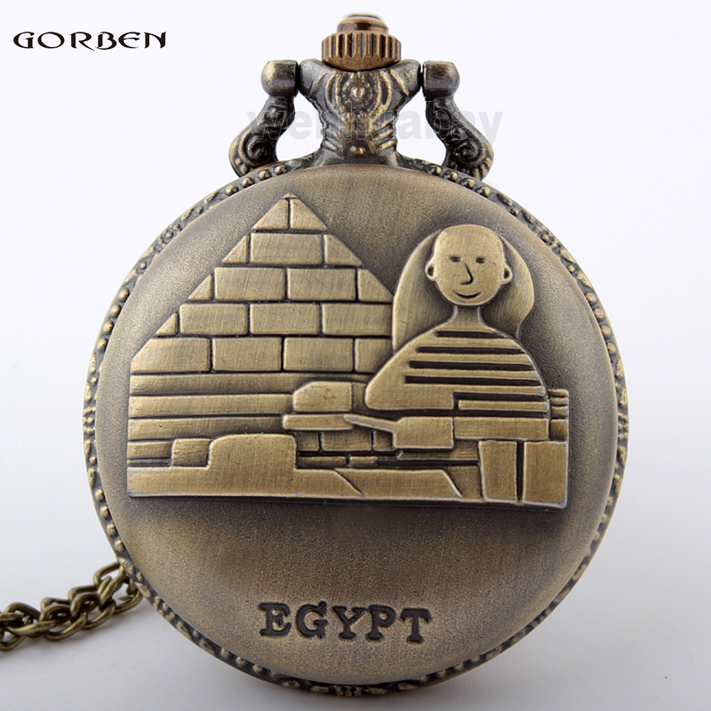 Vintage Bronze Egypt Pyramids Quartz Pocket Watch Necklace Pendant Chain Dress Women Men Watches Gifts Relogio De Bolso
