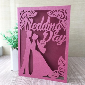 30Pcs/Lot Laser Cut Bride&Bridegroom Theme Wedding Invitation Card Birthday Party Decorative Greeting Blessing Card