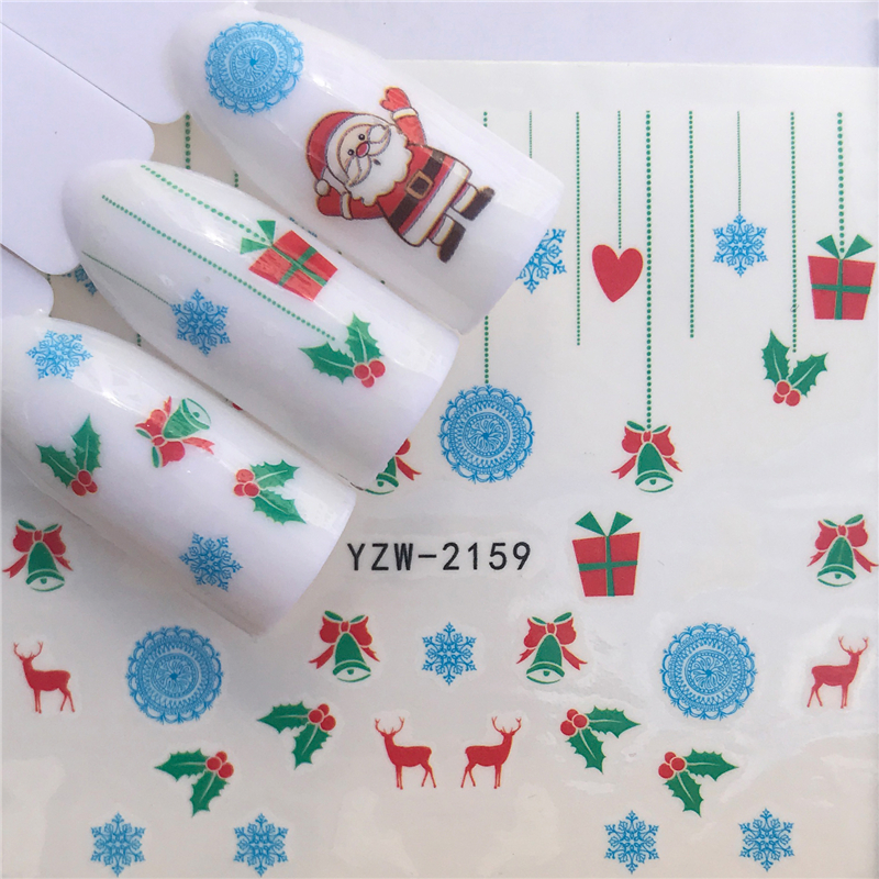LCJ  Christmas Nail Stickers DIY Nail Art Tattoo Decals Self Adhesive Tip Stickers Decoration 4
