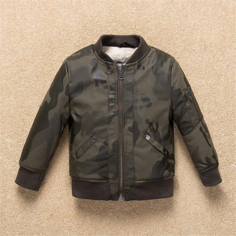 Teenager Baby Boy Leather Jacket 2017 Thicker Warm Camouflage Children Soft Leather Jacket for Boys And Girls Outerwear