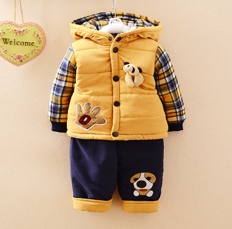 2018 New Chidren Kids Boys Clothing Set Autumn Winter 2 Piece Sets Hooded Warm Coat Suits Cotton Baby Boys Clothes Coat+Pant