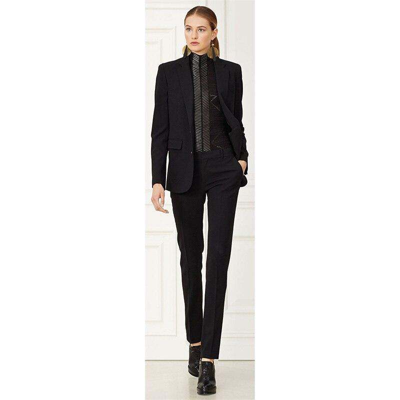 Пиджак + брюки женский деловой костюм черный женский офисный пиджак женский деловые брюки костюм из 2 предметов Тонкий однобортный