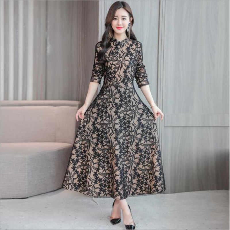 2019 Vintage Baru Musim Gugur Lengan Panjang Renda Gaun Wanita Fashion Maxi Gaun Cina Cheongsam Gaya Etnik Gaun Wanita QV380