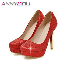 ANNYMOLI Women Pumps Platform High Heels 2018 Extreme Thin Heel Ladies Shoes Silver Crystal Wedding Shoes Red Plus Size 34-43