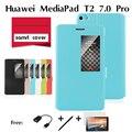 Para huawei mediapad m2 telefone coldre 7 polegada tablet shell de proteção do computador ple-703l janela flip fique pu caso capa de couro