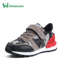 Claladoudou Spring Kids Shoes Boys Genuine Leather Camouflage Trainer Children Cool School Toddler Shoes Girl Brand Red Sneaker