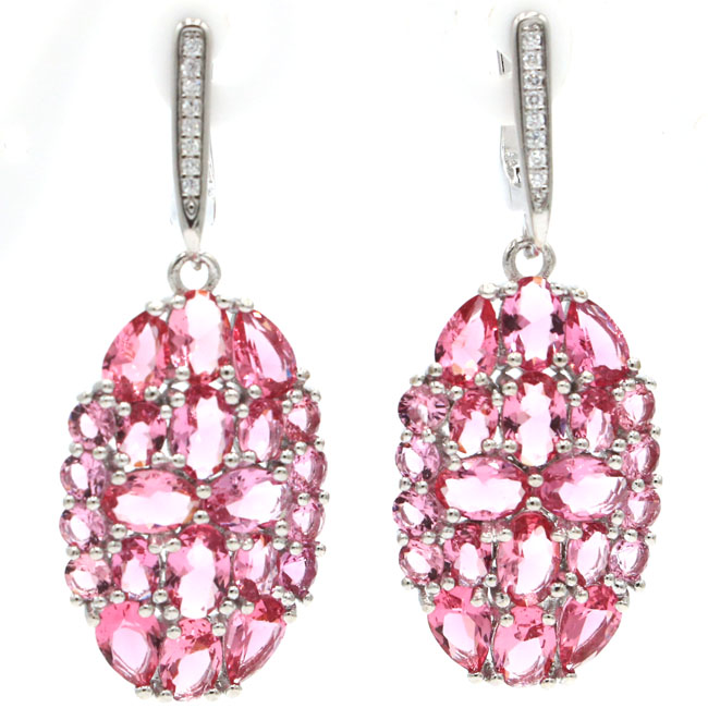 Romantic Pink Tourmaline White CZ Womans Engagement Silver Earrings 42x17mmRomantic Pink Tourmaline White CZ Womans Engagement Silver Earrings 42x17mm
