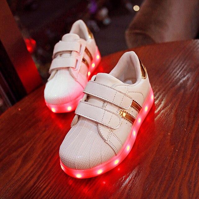 25 ~ 34 Малышей Мальчики Дети Shoes USB Зарядки Красовки подсветкой светящиеся кроссовки LED Тапочки