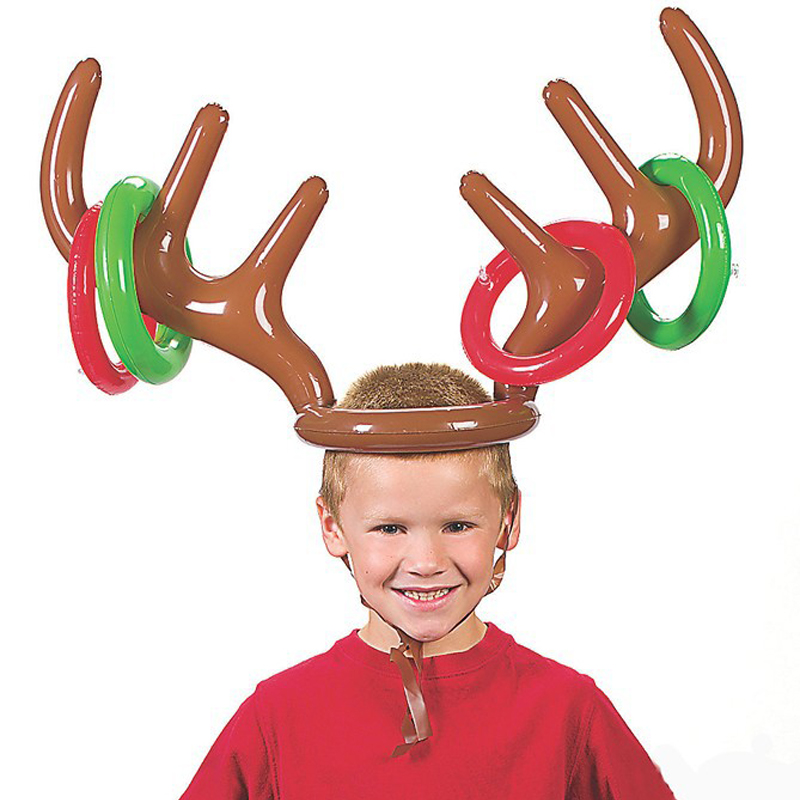 Inflatable Deer Head Ring Throwing Ring Toy Children Outdoor Leisure Sports Christmas Decoration Gifts