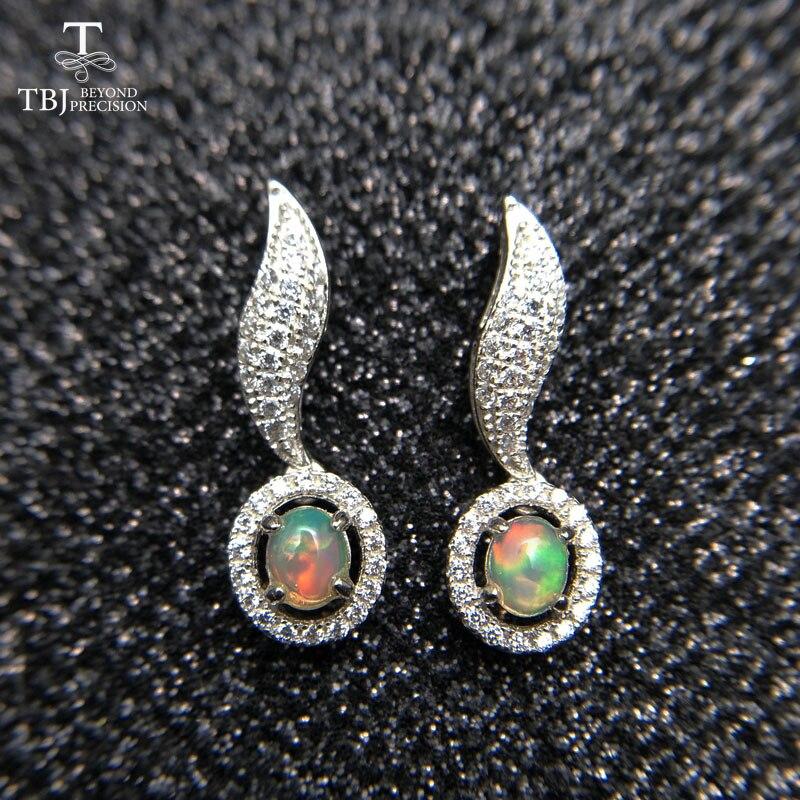 TBJ,925 Sterling Silver natural Gemstone elegant Earrings For Women 1Ct Oval Cabochon White ehtiopian Opal oval4*5mm Earrings недорго, оригинальная цена