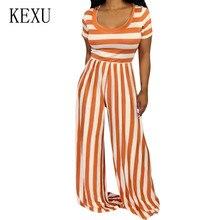 KEXU Women Fashion Strip Print Long Wide Leg Romper New Style Short Sleeve O Neck Summer Loose Jumpsuits Femme Macaquinho