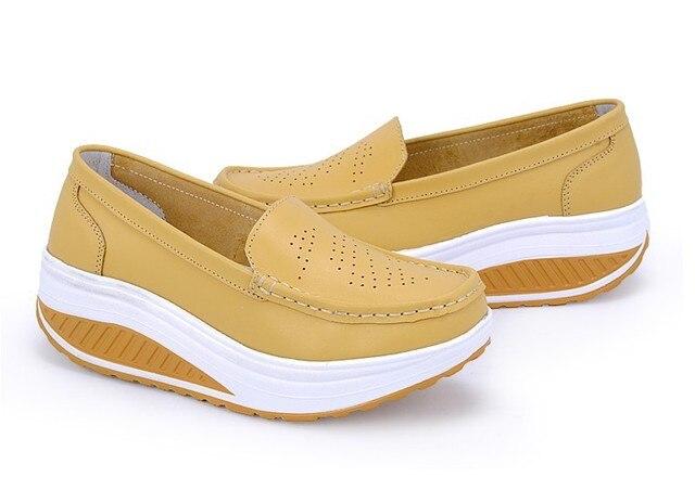 2016 Новое Лето неподдельной кожи женская обувь медсестра обувь качели обувь рабочая обувь одного клинья туфли на платформе размер 35-40