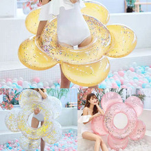 Hawaii Shiny Flower Swim Ring 140cm Sequin Inflatable Float Pool Toy Summer Beach Party Decoration Float Mattress Adult kid Gift angel shiny wing sequin inflatable float 180cm swim ring hawaii summer beach party decoration pool toy float mattress gift adult