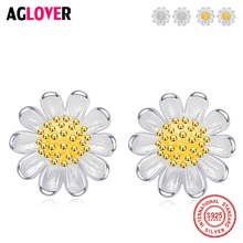 AGLOVER Fashion 925 Sterling Silver Stud Earrings Small Daisy Flowers For Women Sterling-Silver-Jewelry Gift
