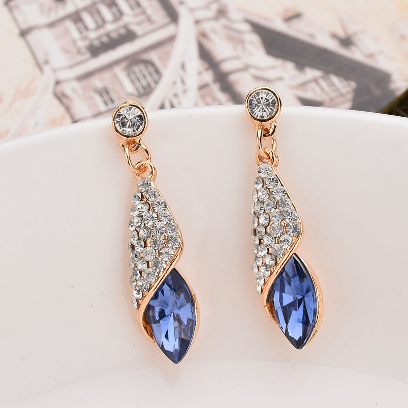 Fashion Brand Alloy Gold Color Statement Austria Blue Crystal Long Earrings Rhinestone Water Drop Elegant Earring Jewelry In From
