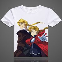 Camisetas Anime Fullmetal Alchemist Winry Rockbell Edward Elric Impreso T-shirt de Manga Corta Camisetas Casual Tops de Verano