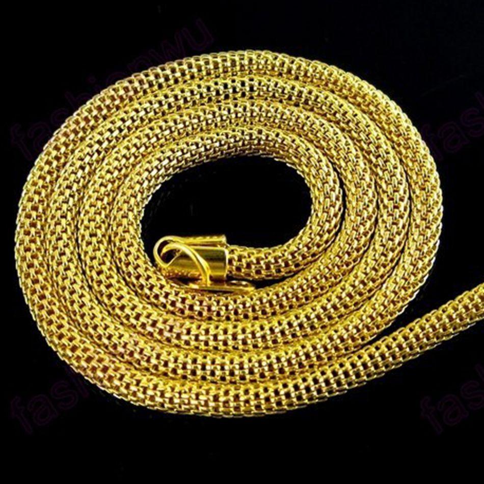 ٩( ‿ )۶48 Pcs 3.2 MM Placa de Ouro Oco Malha Colar de Serpente 1 ... 0a3460fded