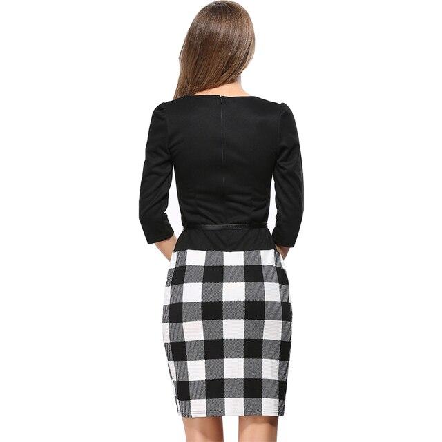 2017 robes nouvelle manches Européenne plaid dress faux deux usure d'affaires Paquet hanche crayon robe envoyer ceinture vestidos LH708