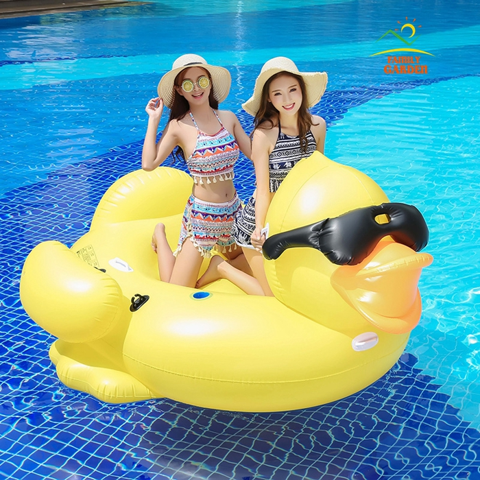 Giant Inflatable Sunglass Yellow Duck Swimming Rider On Pool Toys Floats Fun Water Raft Air Mattress