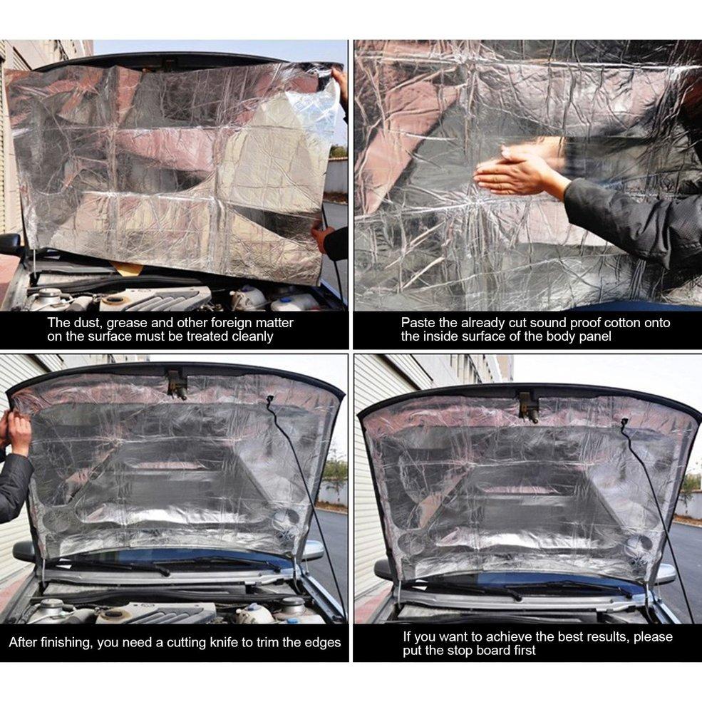 Car-Styling Car Hood Engine Firewall Heat Mat Deadener Sound Insulation Deadening Aluminum Foil Sticker Shield Mat