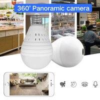 SDETER 1 3MP 360 Degree Wireless IP Camera Wifi Bulb Light FishEye Panoramic Home Security Camera