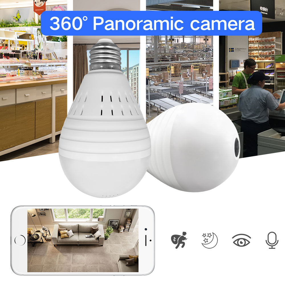 SDETER 1.3MP 360 Degree Wireless IP Camera Wifi Bulb Light FishEye Panoramic Home Security Camera 2 Way Audio P2P UP to 128GB new hd 3mp led bulb light wireless camera fisheye panoramic wifi network ip home security camera system for ios android p2p