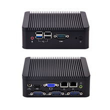 Безвентиляторный мини-ПК с 4 последовательный порт, Bay Trail J1800 Dual Core 2.41 ГГц, 2 LAN мини-ПК с RS232 Порты и разъёмы