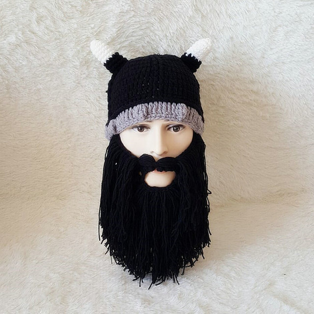 6d76a74212e Handmade Knit Beard Horn Hat Winter Warm Barbarian Viking Beanie Holiday  Party Cool Funny Cosplay Cap For Male Xmas Gifts YG606