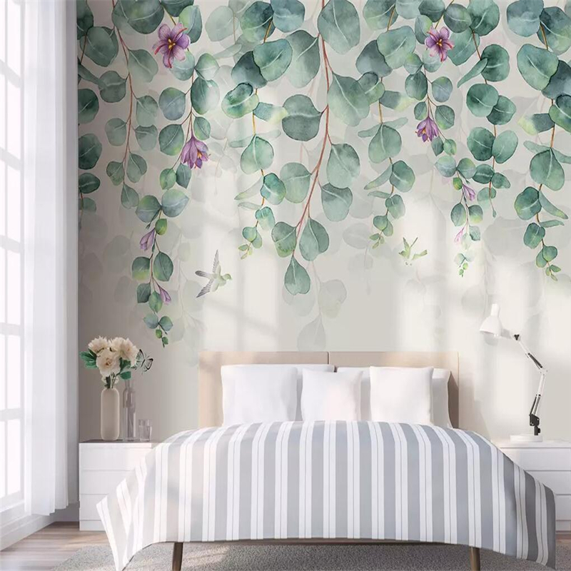 Decorative wallpaper Nordic simple style tropical foliage flowers butterfly birds bedroom background wallDecorative wallpaper Nordic simple style tropical foliage flowers butterfly birds bedroom background wall