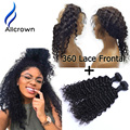 360 Lace Virgin Hair With Bundles Deep Curly Brazilian Hair With Closure Alicrown Hair Lace Frontal 360 Closure With Bundles