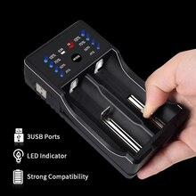פאלו LED USB רב תכליתי סוללה מטען עבור 3.7V 18650 26650 16340 14500 10440 18500 1.2 V AA AAA סוללה נטענת