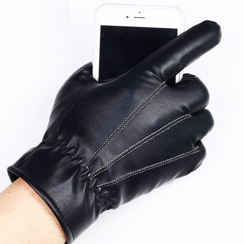 HTB1gEHlmsnI8KJjSspeq6AwIpXaL - 1 Pair Women's Glove PU Leather/Suede Velvet Winter Driving Gloves Rabbit Fur Warm Outdoor Touch Screen Bow Gloves Mittens