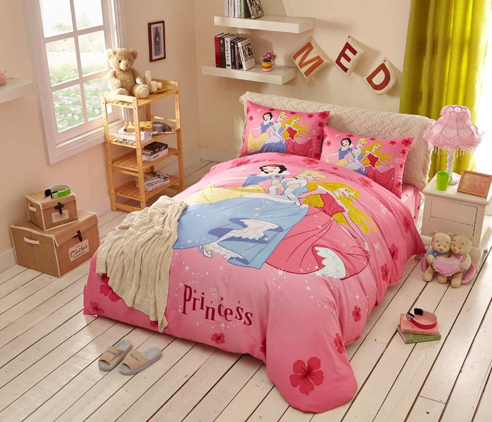 Princesa historieta impresa juegos de cama twin queen rey de algodón hermosas ch