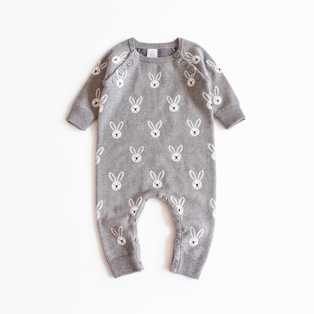 Fashion Newborn Baby Boys Romper Long Sleeves Cute Bear Knitted Baju Bayi Lengan Panjang 2018 Baru Lahir Laki Perempuan Kelinci Rajutan Anak