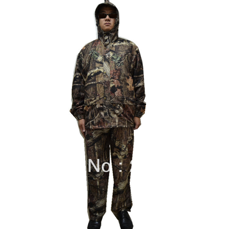 Waterproof Outdoor Wild Bionic Camo Clothes Hunting Suits Sets Jacket+Pants+Cap double fleece camo suits fabric jungle camouflage hunting clothing sets for hunter clothes