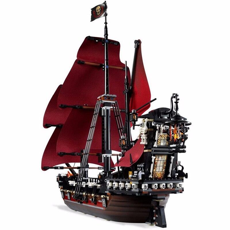 Diy Queen Anne's revenge Pirates of the Caribbean เรือ Building Blocks Set ใช้ร่วมกับ L ยี่ห้อของเล่นเด็กเด็กของขวัญ-ใน บล็อก จาก ของเล่นและงานอดิเรก บน   1