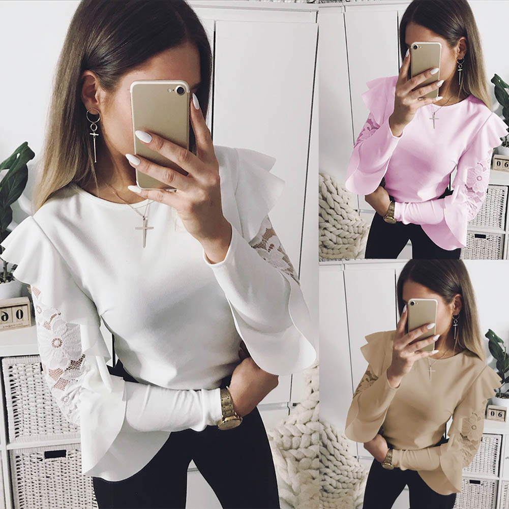 2018 New Spring Women Lace Ruffle Long Sleeve T-shirt Sweet Solid Tee Slim Fit Tops FS99