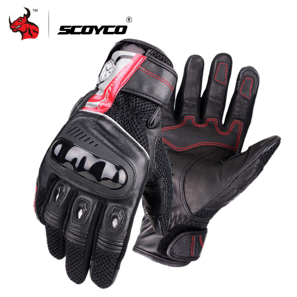 SCOYCO Motorcycle Gloves Breathable Wearable Leather Racing Gloves Men Motorbike Guantes Luvas Moto Motocross Gloves Black